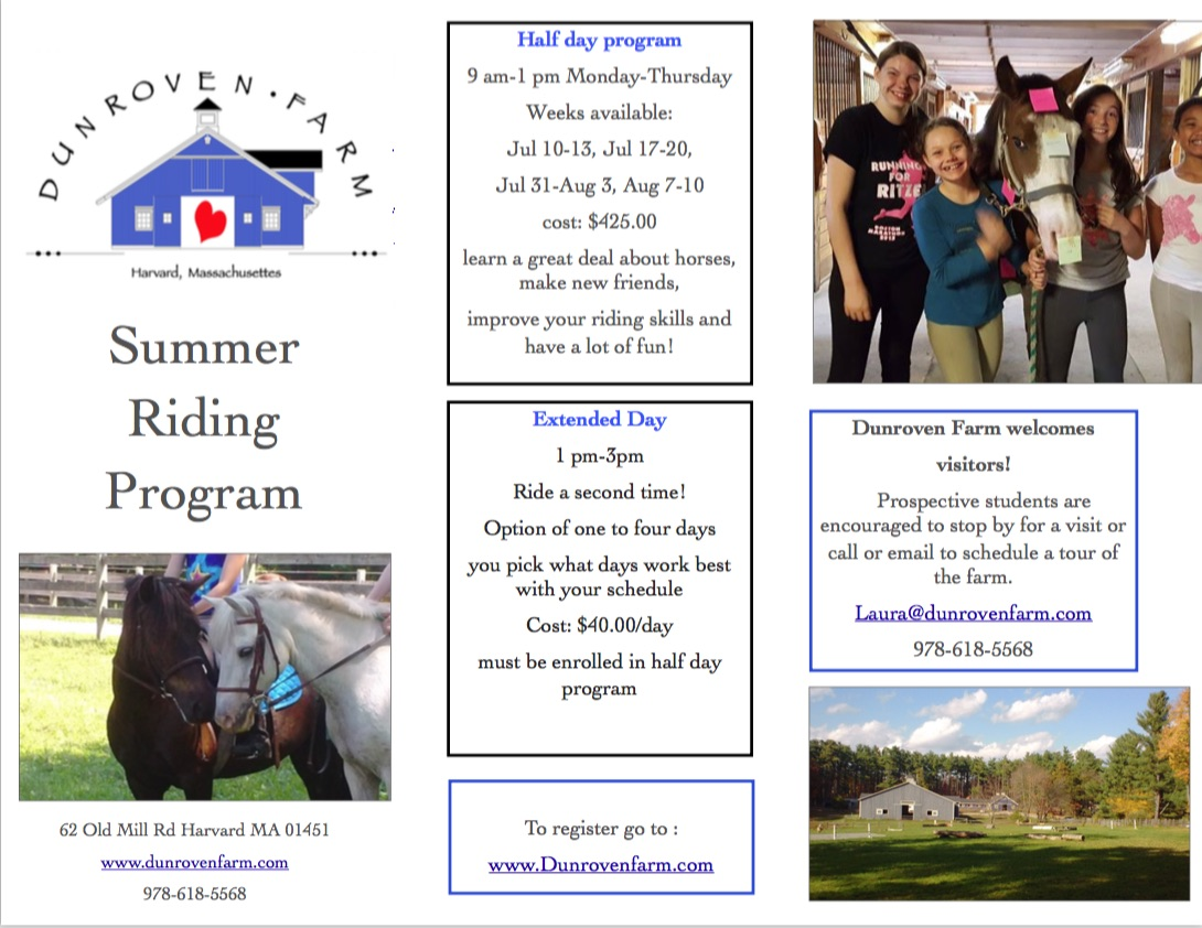 Summer Riding Program Brochure, page 1
