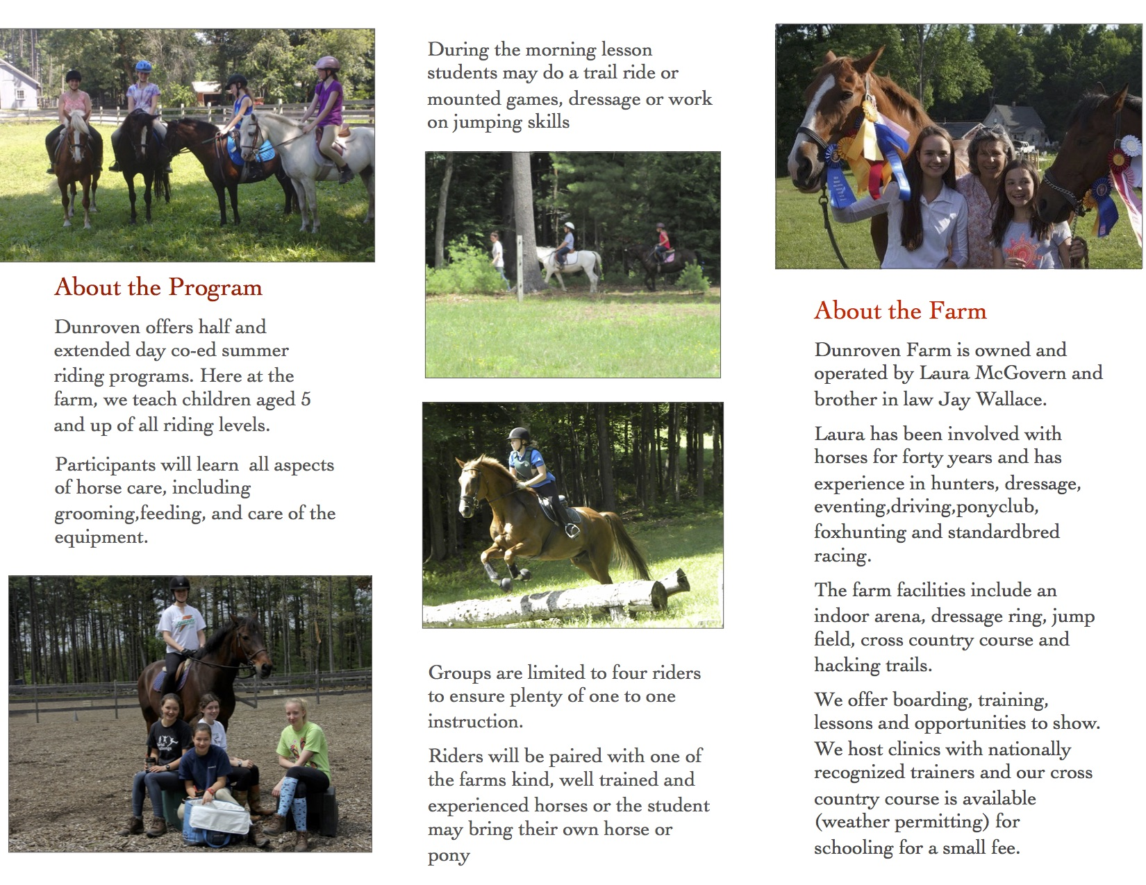 Summer Riding Program Brochure, page 2